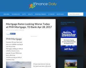 TD Bank - Mortgage Rates Looking Worse Today at PHH Mortgage, TD Bank Apr 28, 2017