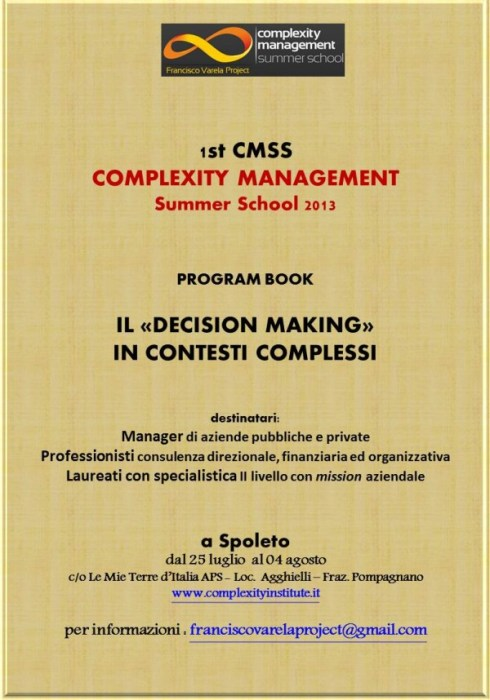 Il Program Book della Complexity Management Summer School