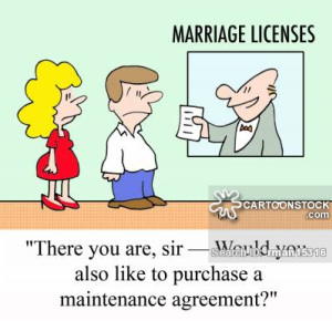 'There you are, sir - Would you also like to purchase a maintenance agreement?'