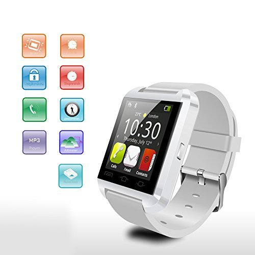 Fly-shop-U8-Bluetooth-30-Elegante-reloj-tctil-reloj-de-pulsera-de-pantalla-para-Android-IOS-Iphone-Samsung-Galaxy-HTC-Blanco-0