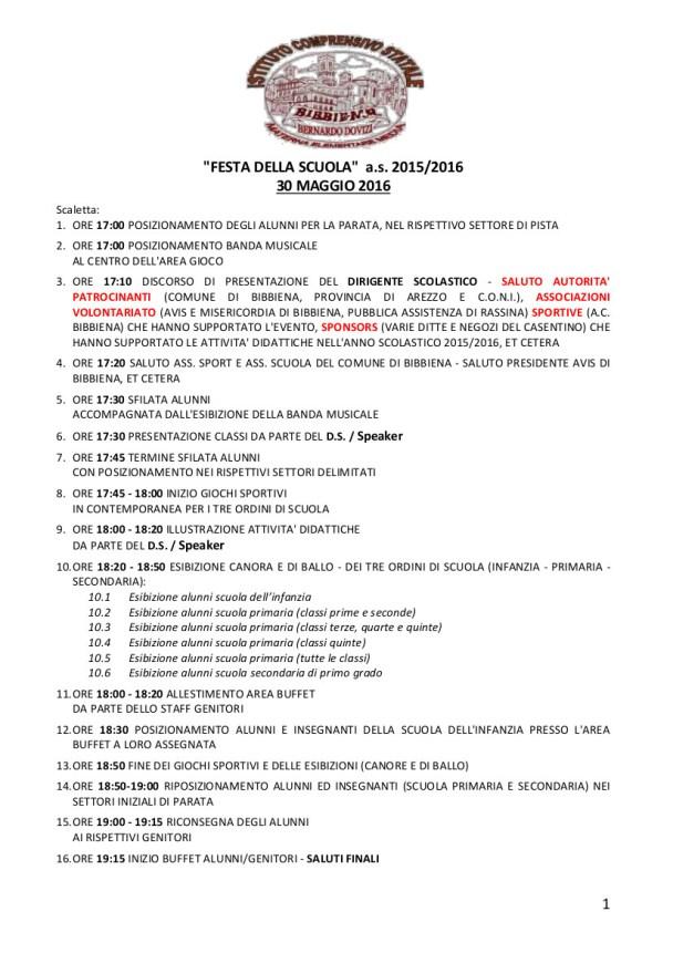 Scaletta Programma Festa Scuola - Bibbiena 2016