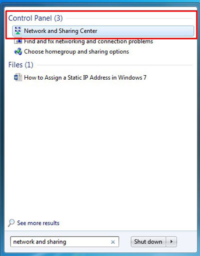 assign static ip windows 7