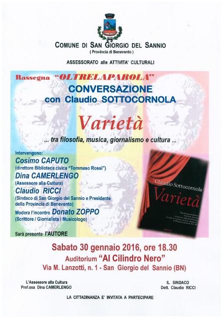 Oltre la parola: sabato 30 gennaio alle 18.30 conversazione con Claudio Sottocornola