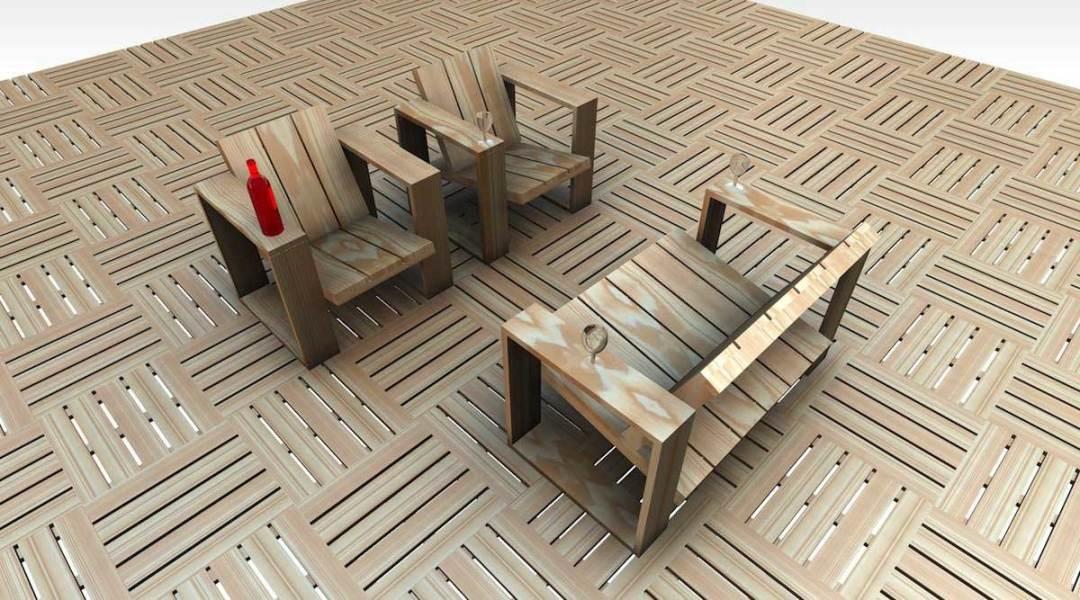 """""""Square"""" Salon de jardin en douglas massif"""