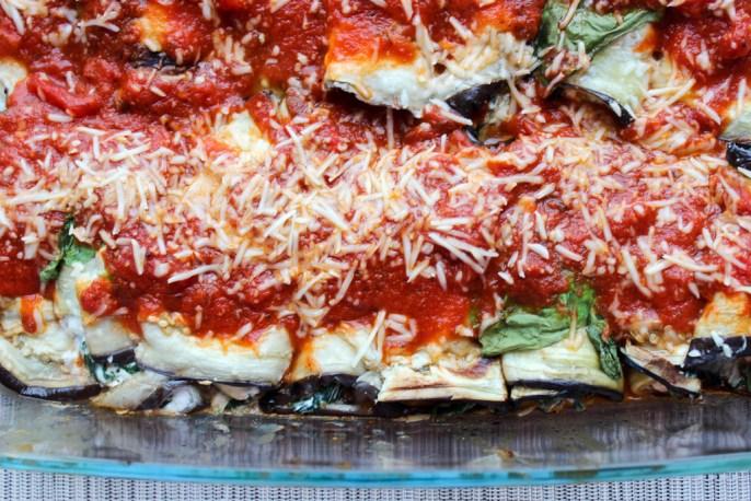 Aubergine Rolls with Ricotta & Spinach