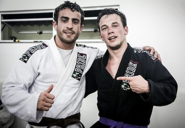 PanAm brown belt champion Rafael Henrique with Connection Rio sponsored athlete Michael Tlalka in their Pride Fightwear gis