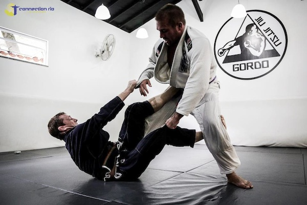 Dennis working the open guard against a much heavier opponent