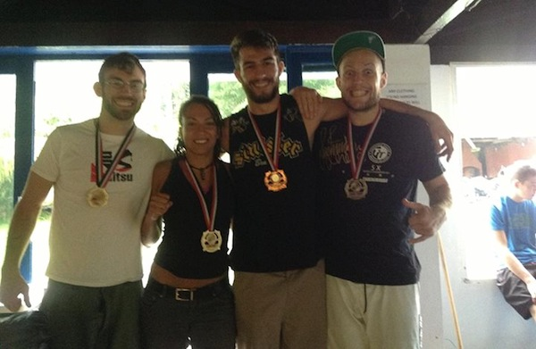 Torryn (left) with CR guests Nico, Patrick and Mos and their medals