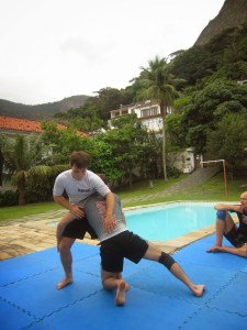 Drilling some pre-competition wrestling in the Connection Rio garden