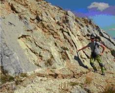 FOTO 6, Frattura cosismica alla base del piano di faglia sul Monte Vettoretto