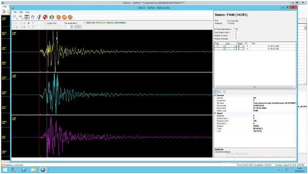 Sismogramma del terremoto di magnitudo M6.0 delle 03:36 del 24 agosto registrato alla stazione sismica FIAM (Fiamignano, RI) della Rete Sismica Nazionale dell'INGV.