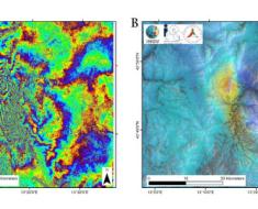 Figura 1: esempio di interferogramma (A) ottenuto dall'elaborazione di due immagini SAR del satellite Sentinel-1. Nel pannello B si riporta la corrispondente mappa delle spostamento del suolo dovuto al terremoto del 24 agosto 2016. Le immagini utilizzate sono relative alle date 21 e 27 agosto 2016
