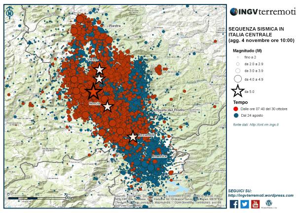 La mappa della sequenza dal 24 agosto con in evidenza (in colore rosso) gli eventi localizzati dopo il 30 ottobre.
