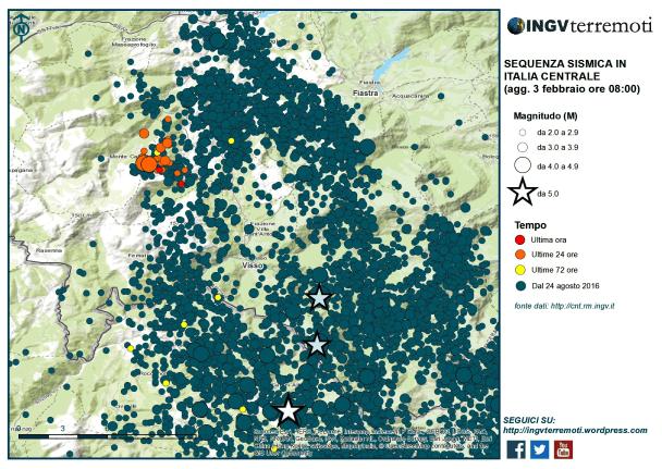 La mappa della sequenza sismica in Italia centrale centrata sull'area in cui si sono verificati gli eventi sismici di magnitudo uguale e maggiore di 4.0 questa notte (3 febbraio).