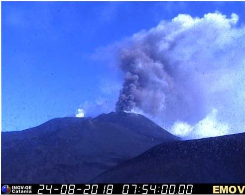 Fig. 4 - Emissione di cenere dal Nuovo Cratere di Sud-Est, registrata dalla telecamera di sorveglianza visiva dell'INGV-Osservatorio Etneo sulla Montagnola, a 3 km a sud dalla cima dell'Etna, alle ore 09:54 locali (07:54 UTC).