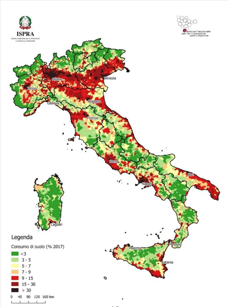 Consumo di suolo a livello comunale (% esclusi i corpi idrici-2017). (Fonte: elaborazioni ISPRA su cartografia SNPA, 2018).