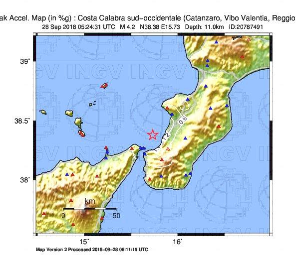 terremoto calabria 28 sett 2018 MAPPA SCUOTIMENTO