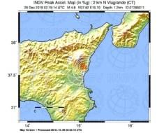 mappa scuotomento accelerazione sisma catania 26 dic 2018