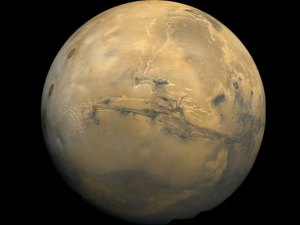 Mars. photographed by Viking orbiter.