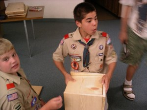A Boy Scout patrol does community service.