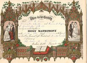 An 1875 marriage certificate