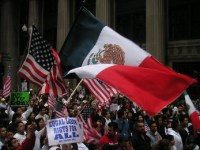 Symbol of fundamental change: Mexican flag at an immigration rally in an American city