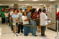 The unemployment line. Does welfare make this worse?