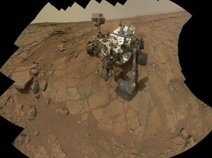 Curiosity rover takes a self-portrait in several steps.