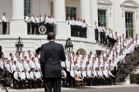 Obama addresses the uniformed division of the Secret Service in front of the South Portico of the White House. Photo courtesy Pete Souza/The White House
