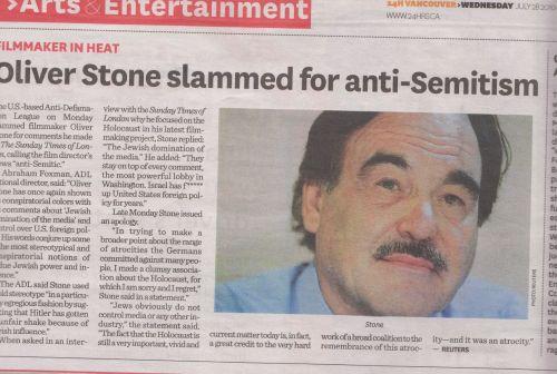 Oliver Stone Anti-Semite