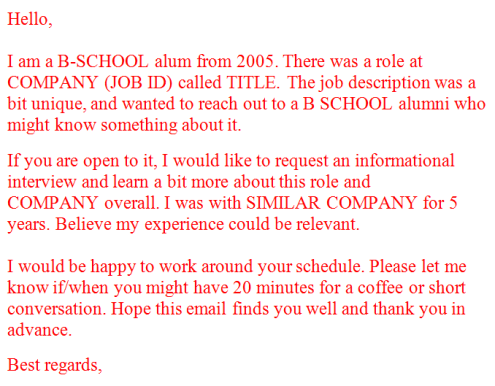 Consultants mind - Informational Interview Email