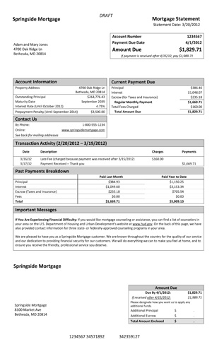 A model form for mortgage statements | Consumer Financial Protection Bureau