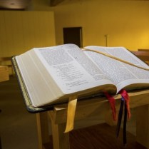 The ambo where the Word is proclaimed each day.