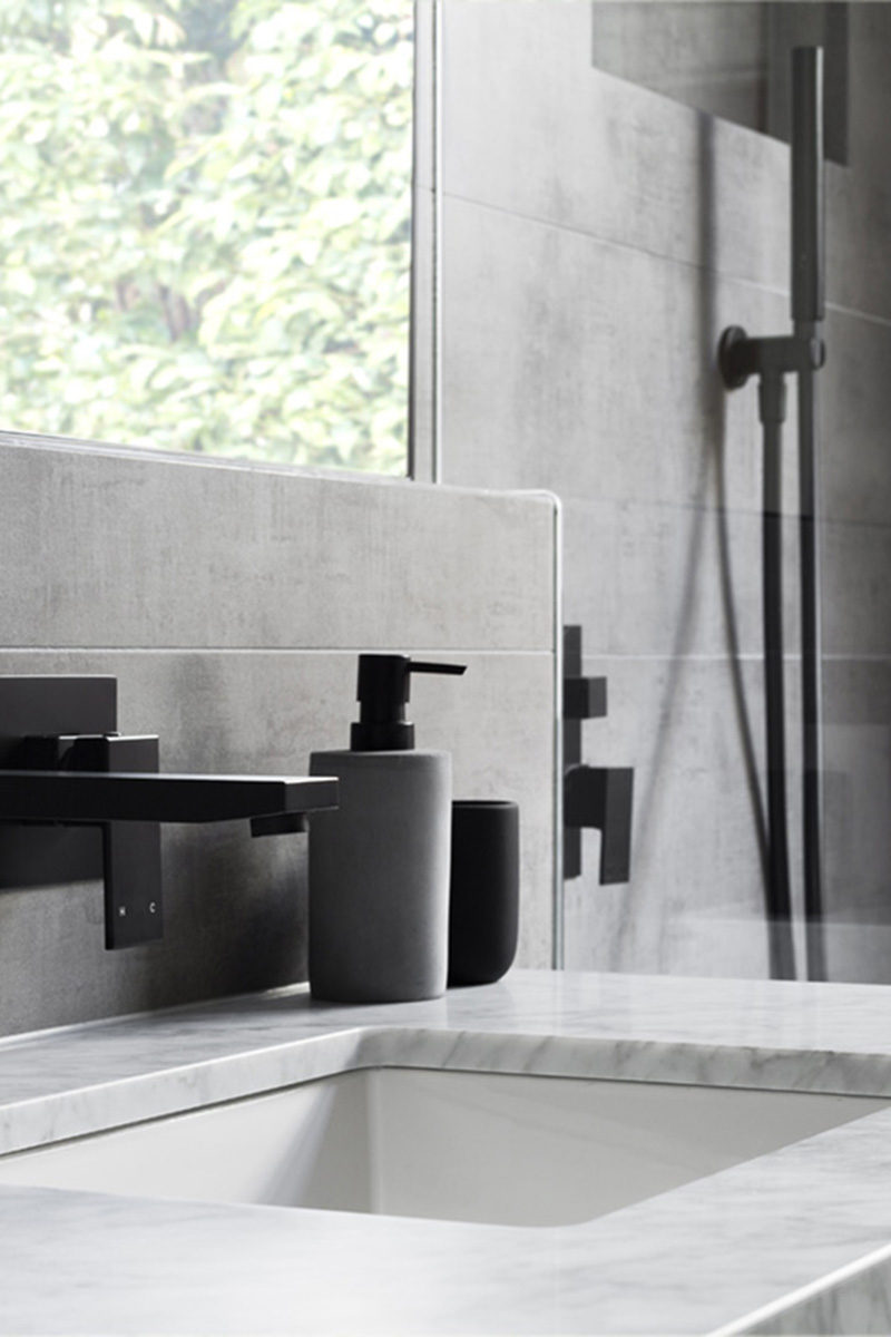 Tempting Grey Matte Black Accents Like Soap Pumpsand Hardware Matte Black Accents Add Sophistication To This Grey In This Grey Bathroom Vanity Bathroom S Grey houzz-03 Grey And White Bathroom