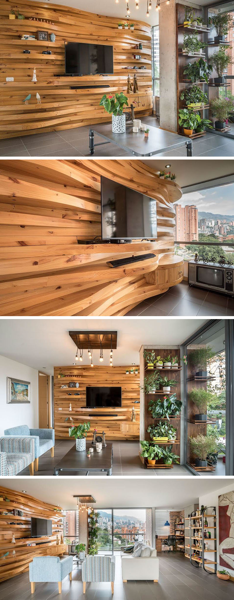 Innovative This Apartment Features A Wavy Wood Accent Wall That Adds Warmth To A Wavy Wood Accent Wall Creates Multiple Shelves This Apartment Wood Accent Wall Shelves Wood Accent Wall Panels houzz 01 Wood Accent Wall