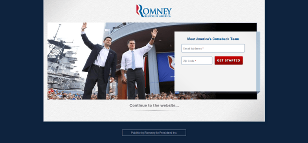 mitt romney - email capture landing page