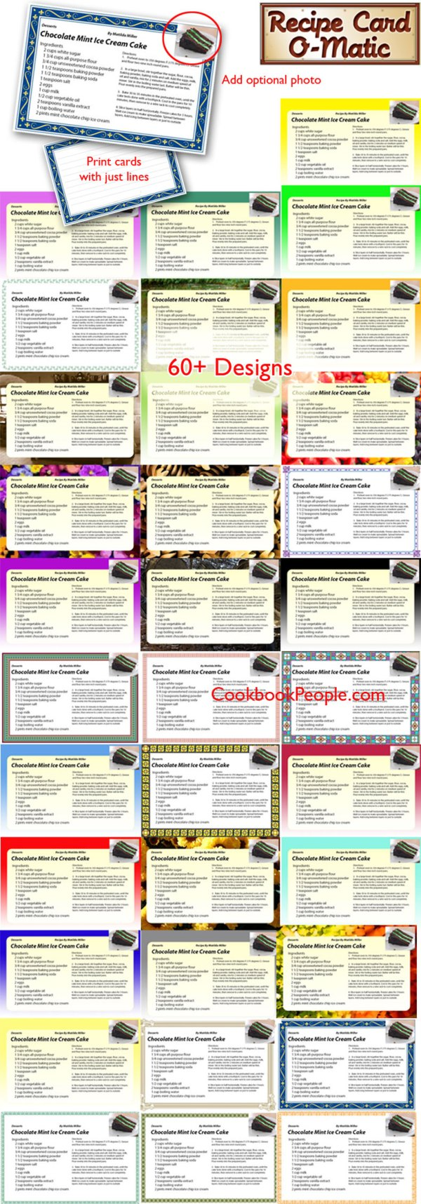 Recipe card template collection
