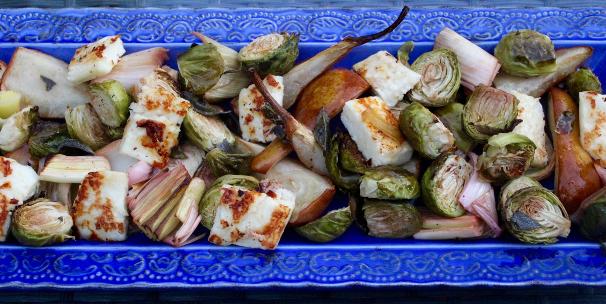 Roasted Pear, Brussel Sprout and Halloumi Salad