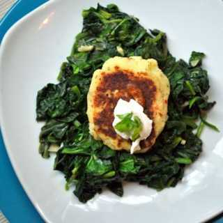 Mashed Potato pancakes over garlic Sauteed Greens - Thanksgiving Leftover Recipe