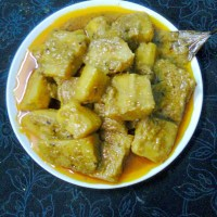 Healthy Veg. Side Dish Recipe  -  Raw Banana (Kacha Kola) Curry.