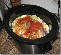 raw hamin or cholent stew in crockpot