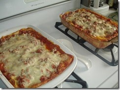 two lasagna casseroles for freezing