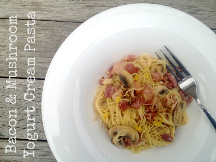 Bacon Mushroom Yogurt Cream Pasta - A quick, easy, and delicious dinner recipe on CookingWithBooks.net