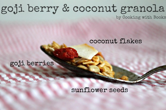 goji berry and coconut granola by cooking with books