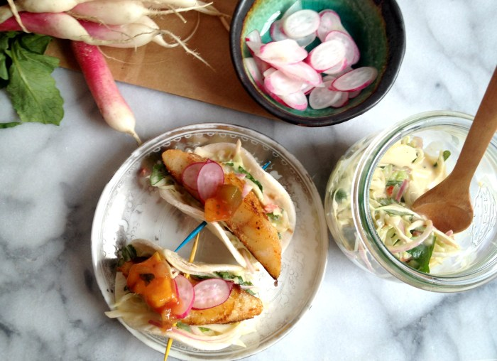 Fish Tacos with Spicy Hummus Slaw - Cooking with Books