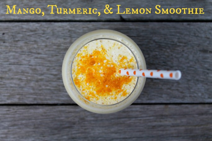 Lemony Mango Tumeric Smoothie - Recipe on CookingWithBooks.net