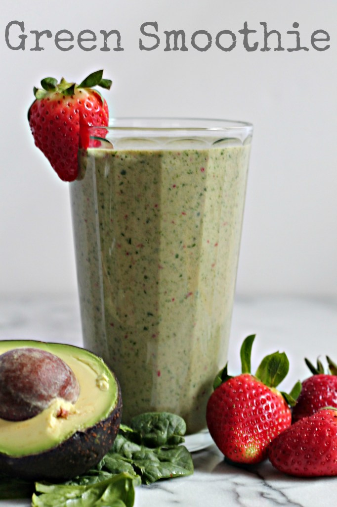 Packed with fresh avocado, spinach, and strawberries - this is a deliciously healthy green smoothie to start your morning with!