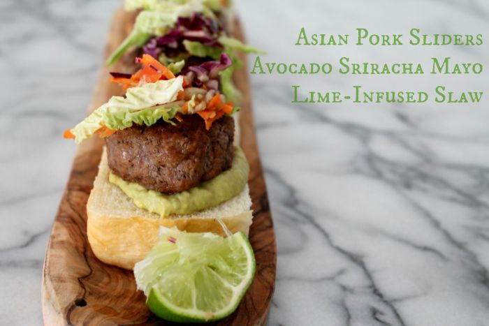 Asian Pork Sliders with Avocado Sriracha Mayo