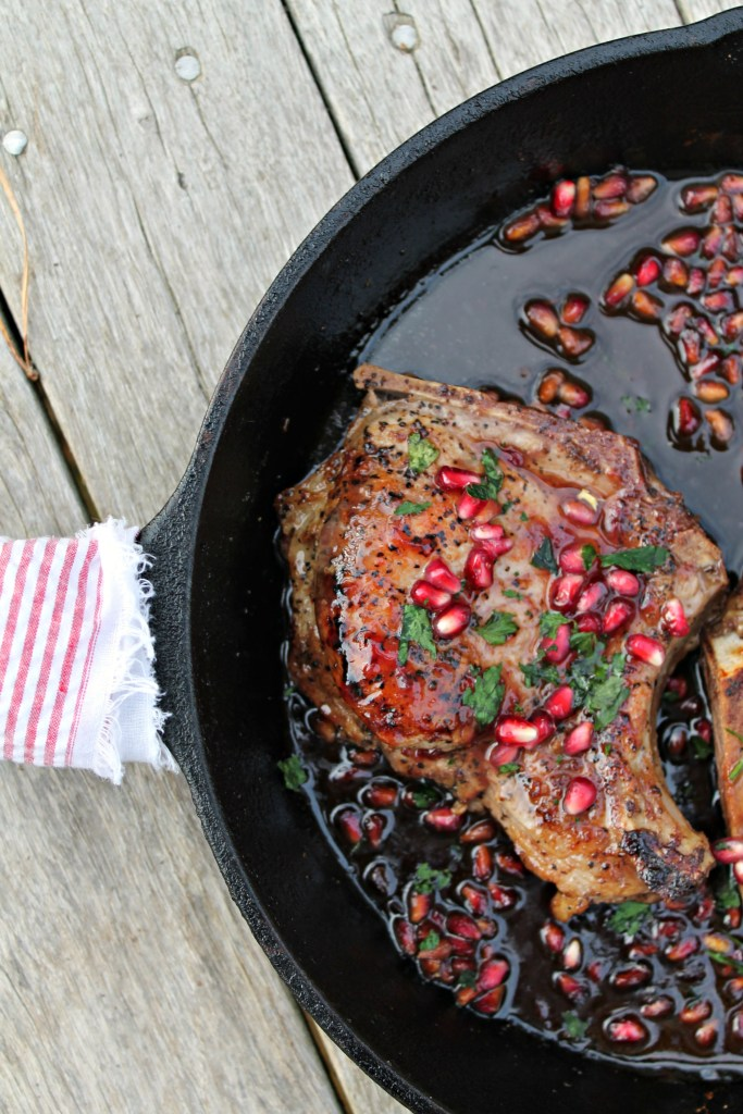 Pomegranate Glazed Pork Chops