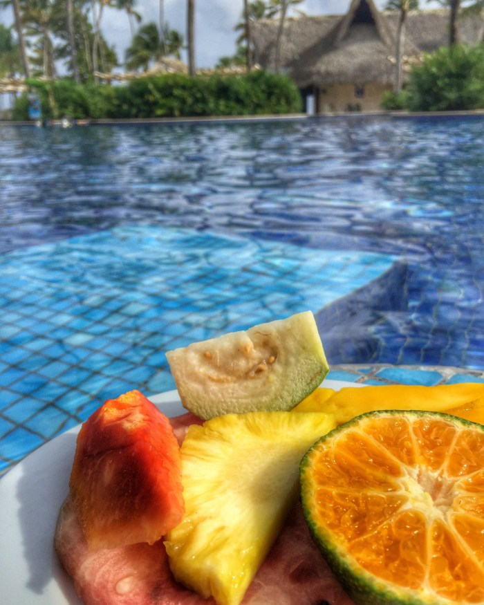 Sitting poolside at the Barcelo Bavaro Hotel in Punta Cana, Dominican Republic